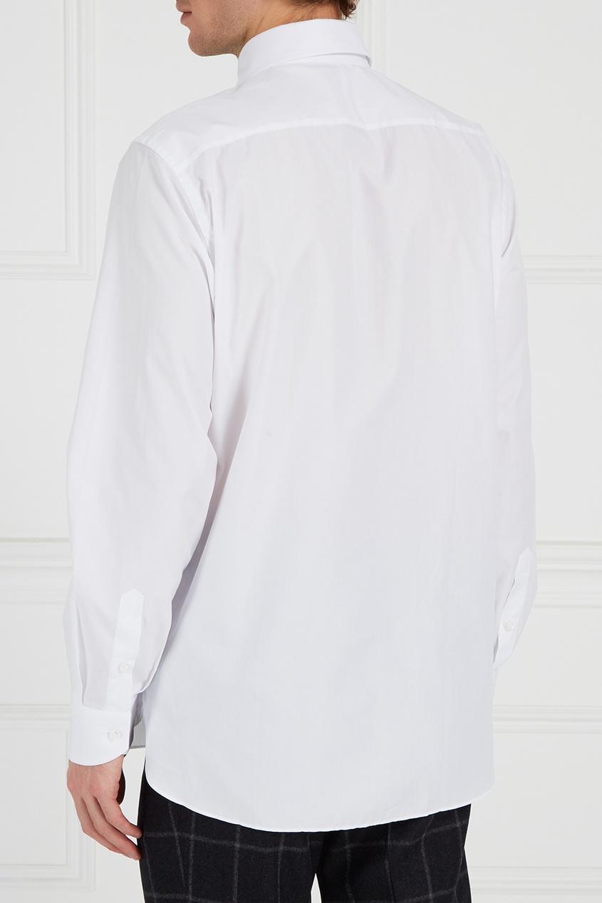 Canali Белая хлопковая сорочка canali шелковый кушак для смокинга