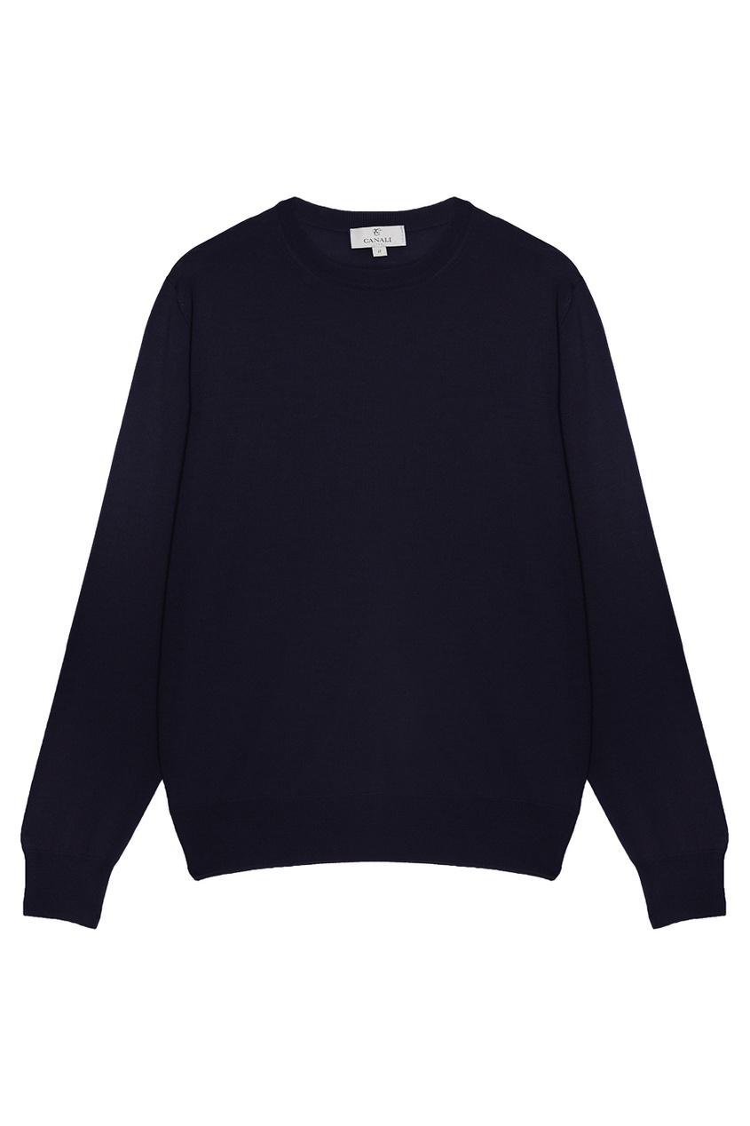 Canali Синий шерстяной джемпер пальто из шерстяного драпа 70