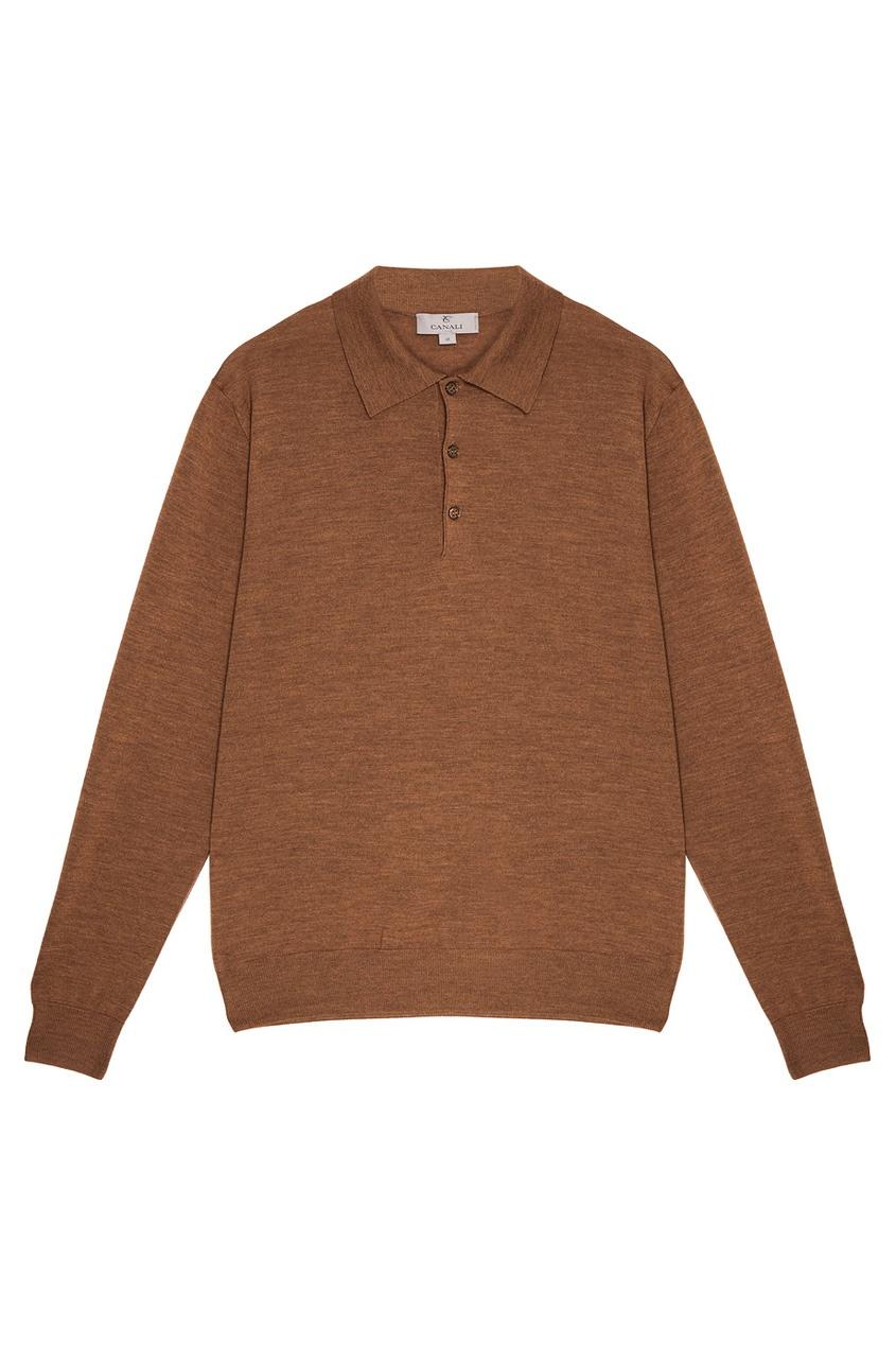 Canali Коричневый джемпер-поло из шерсти canali шерстяной свитер поло