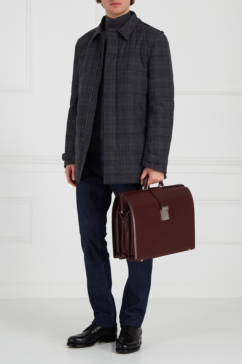 Бордовый кожаный портфель