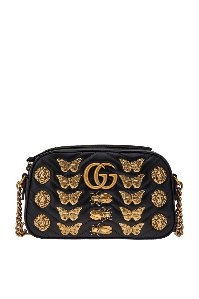 Gucci Кожаная сумка GG Marmont с декором