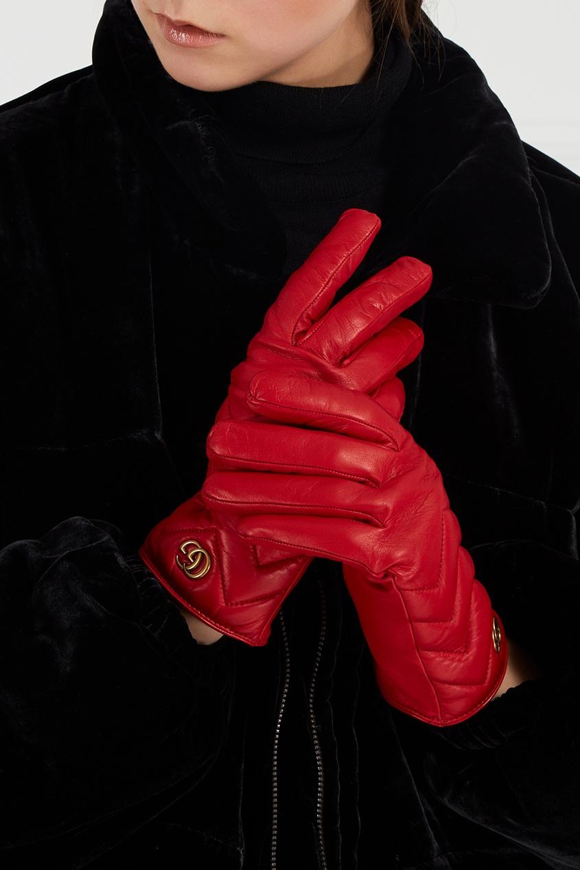 Gucci Красные кожаные перчатки мужские кожаные перчатки в самаре