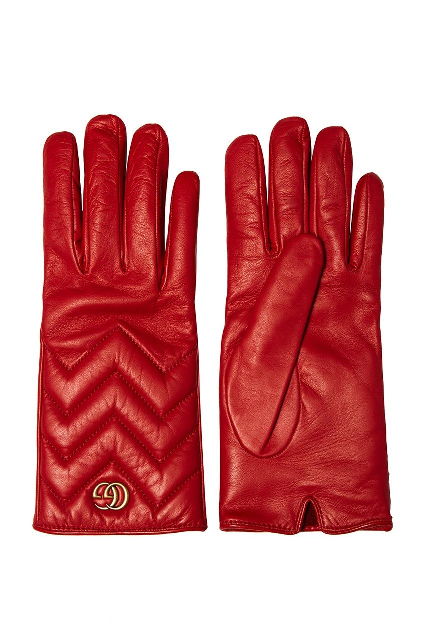 Gucci Красные кожаные перчатки красные перчатки бурлеск uni