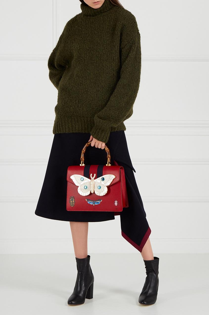 Красная сумка с перламутровым декором