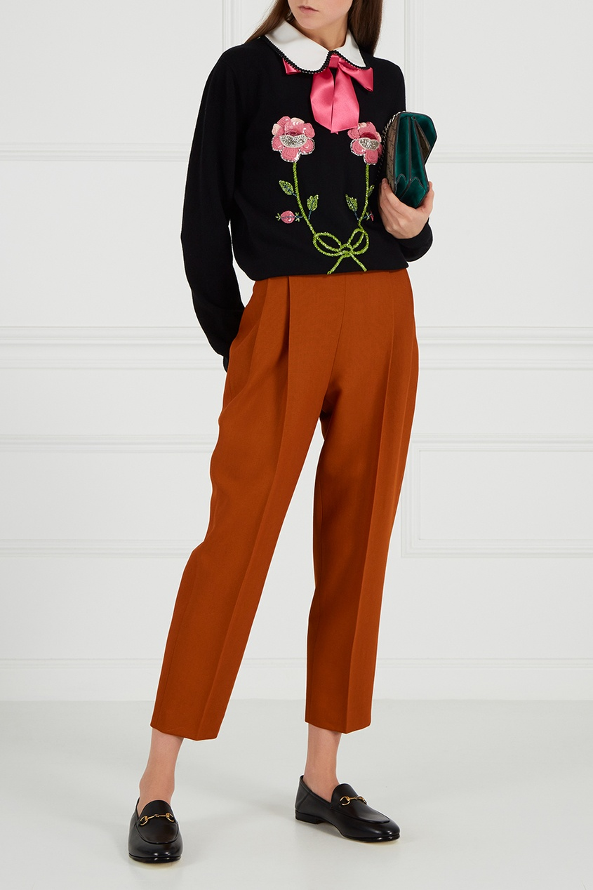 Gucci Декорированный джемпер из шерсти и кашемира вышивка бисером молящийся христос