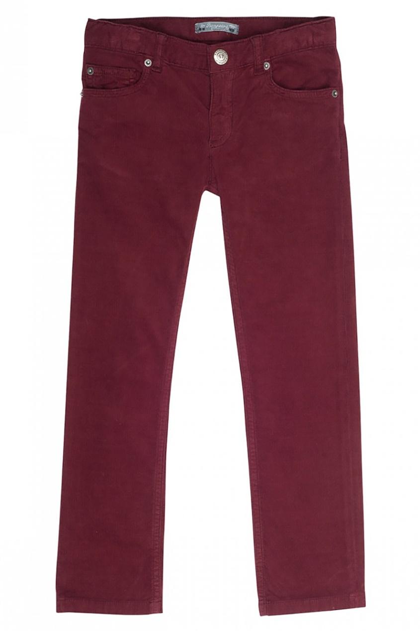 Bonpoint Бордовые брюки в рубчик Dylan