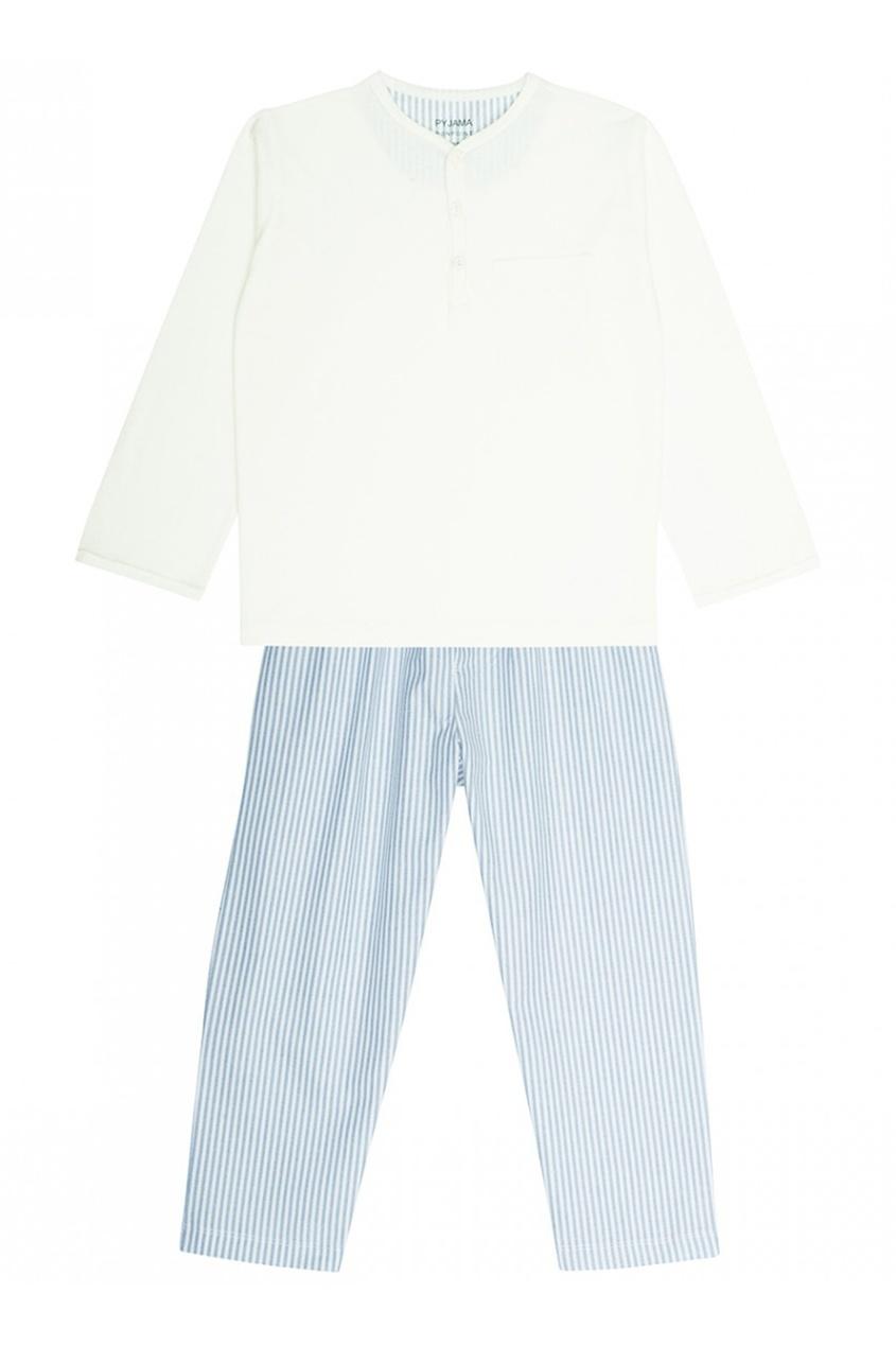 Хлопковая пижама с брюками в полоску