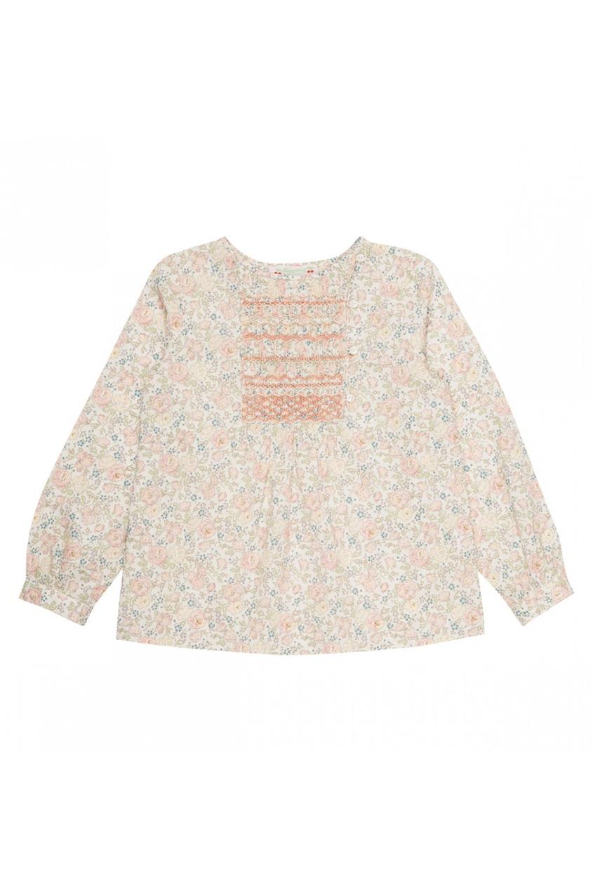 Хлопковая блузка с принтом с розами