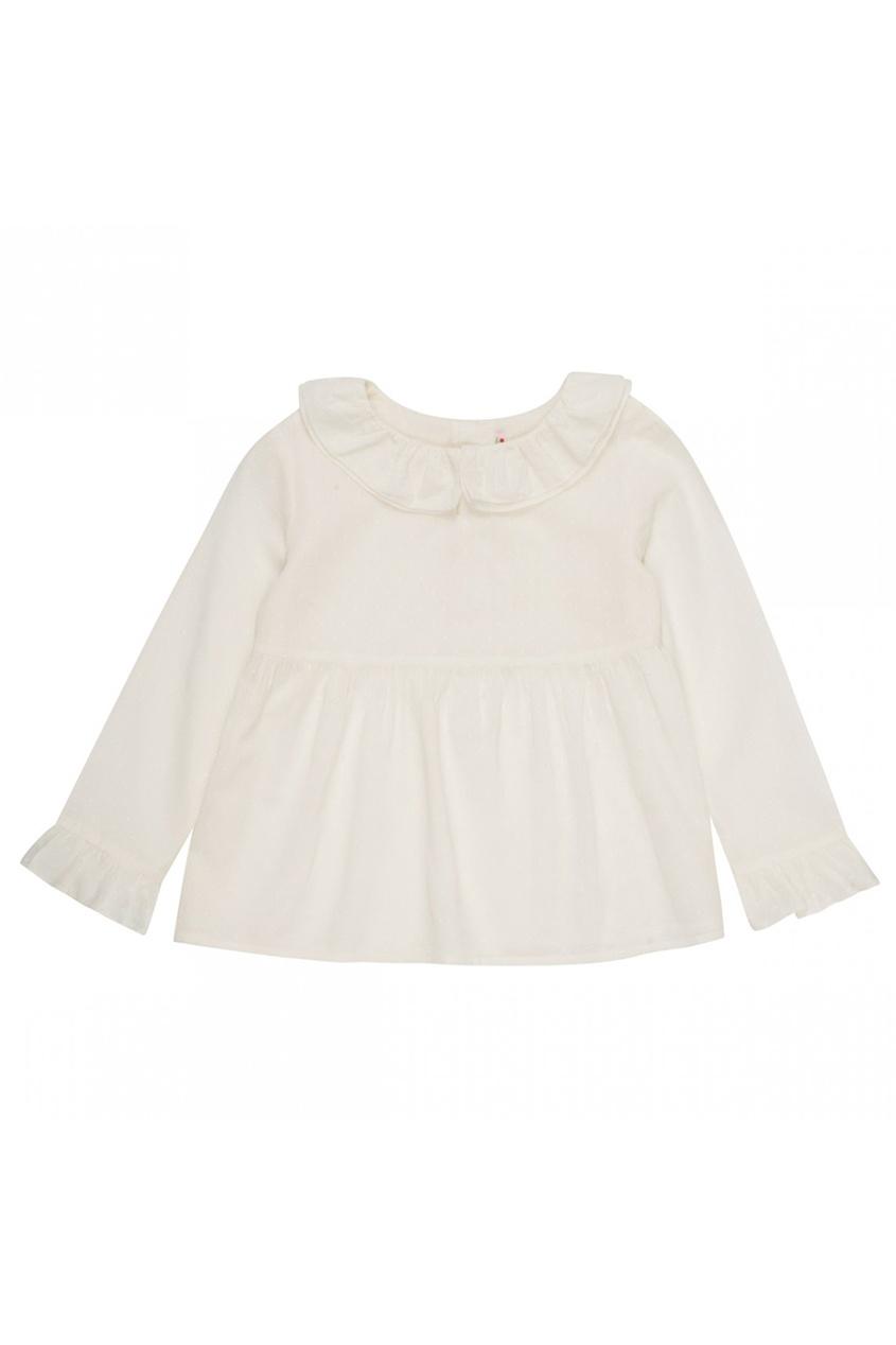 Хлопковая блузка с двойным воротником