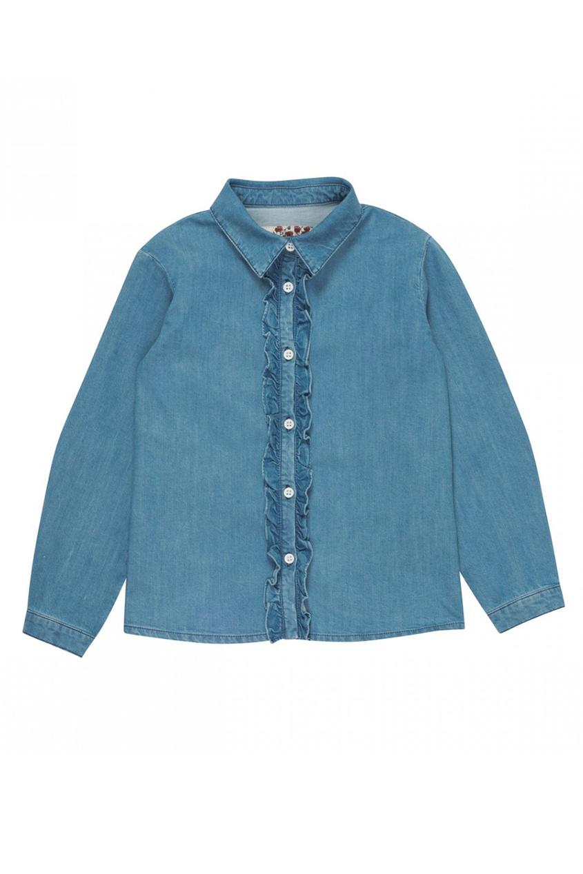 Джинсовая рубашка с рюшами