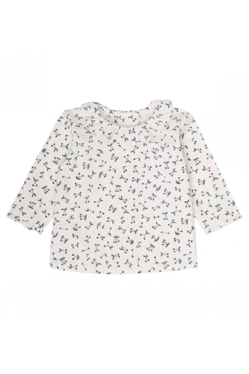 Хлопковая блузка с принтом с вишнями