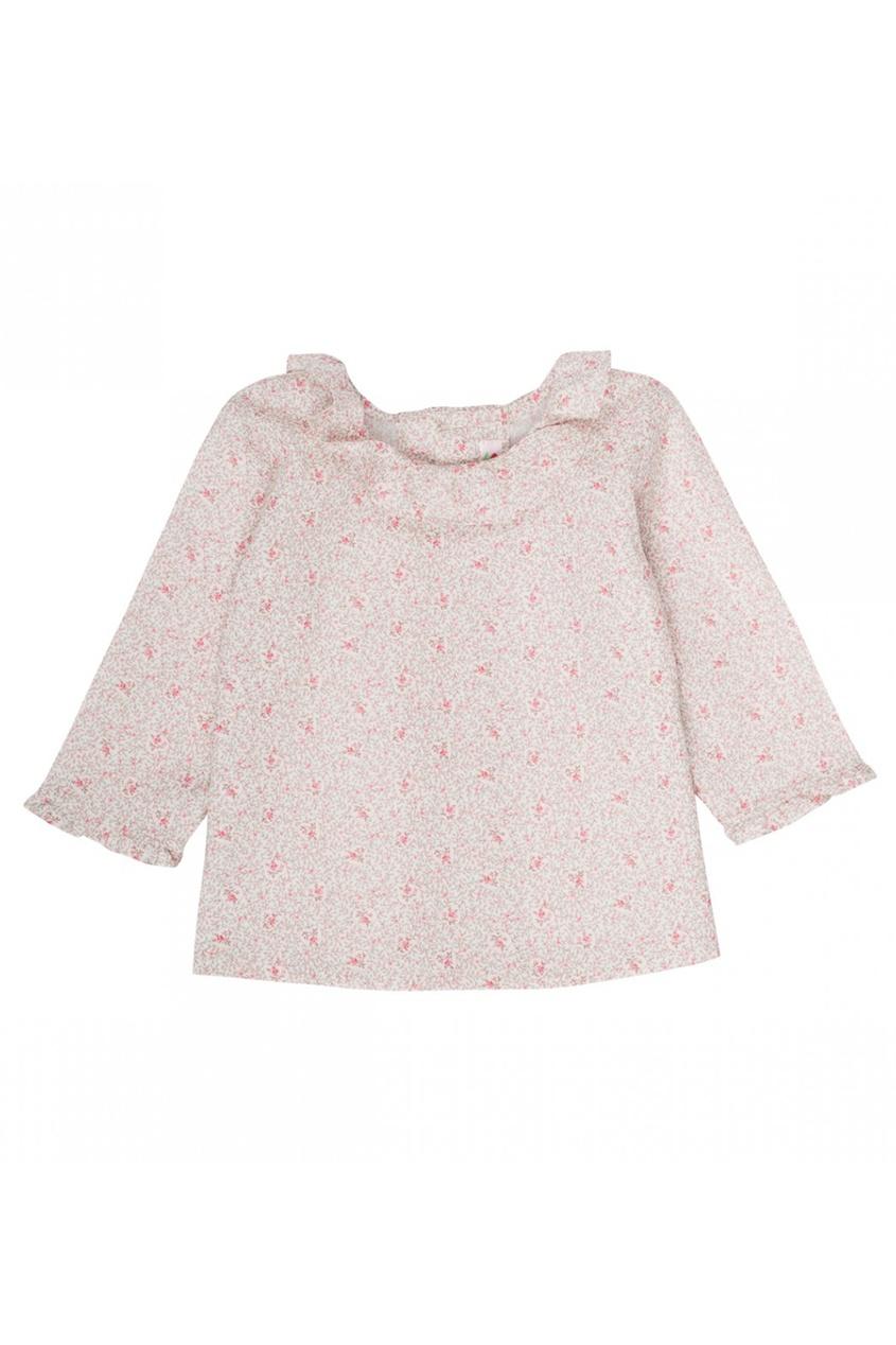 Хлопковая блузка с растительным принтом