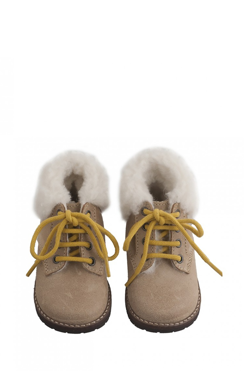 Bonpoint Кожаные ботинки с мехом ботинки кожаные с кисточками