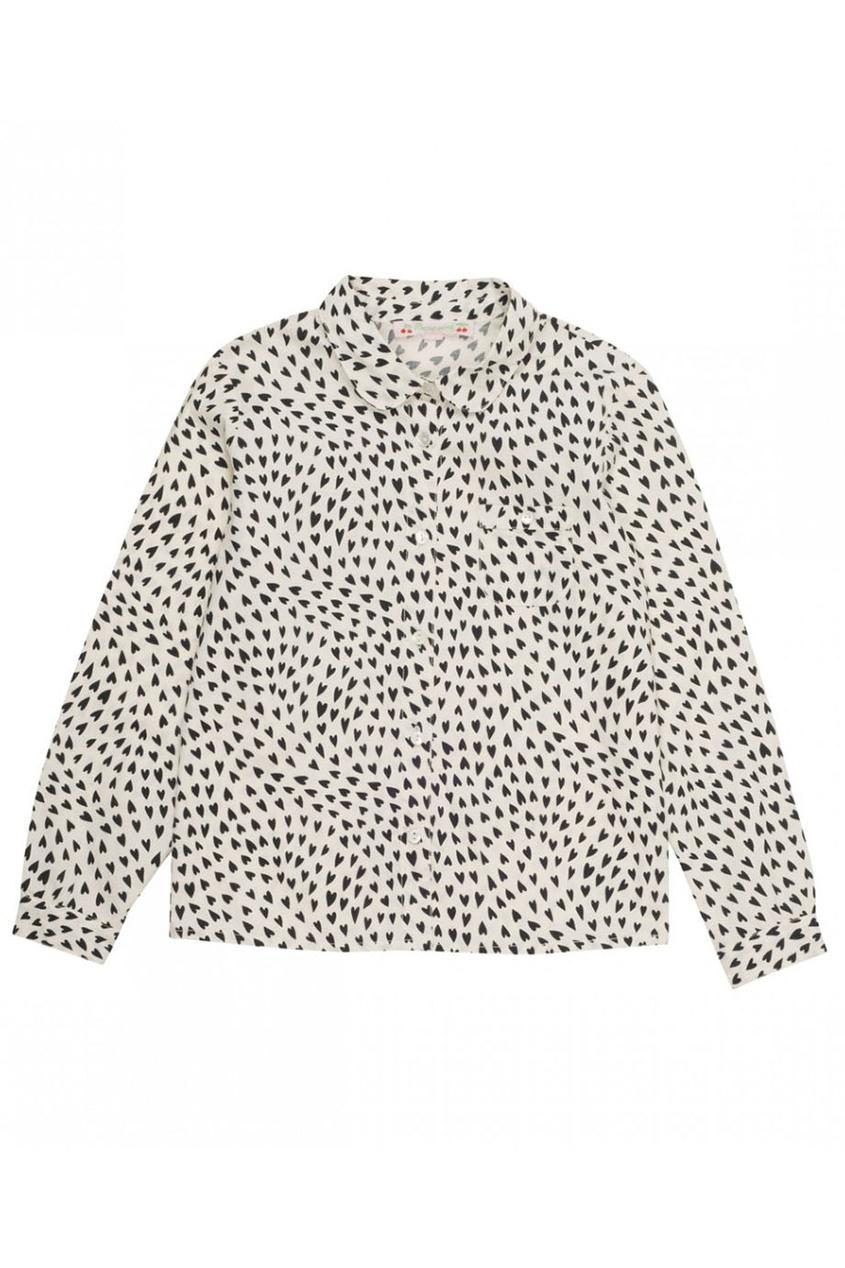 Хлопковая блузка с контрастным принтом