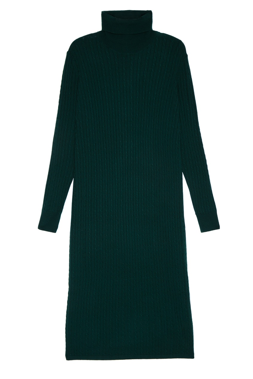 Зеленое платье из шерстяного трикотажа