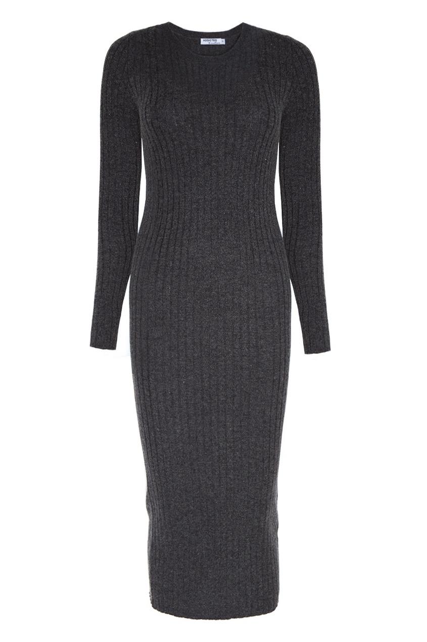 Серое платье из шерсти Addicted 173365752 серый фото