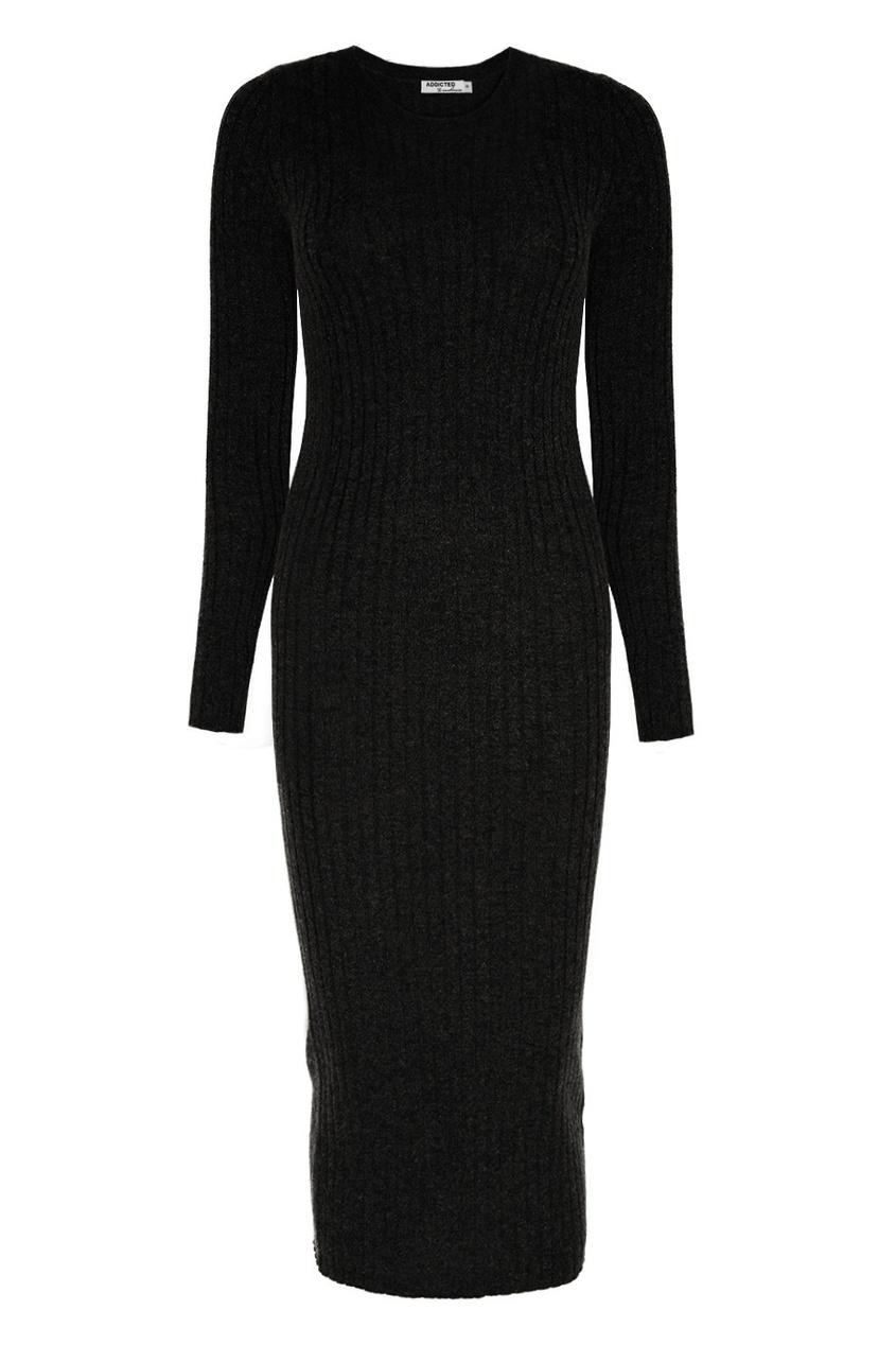 Addicted Черное платье из шерсти платье черное с паетками 44