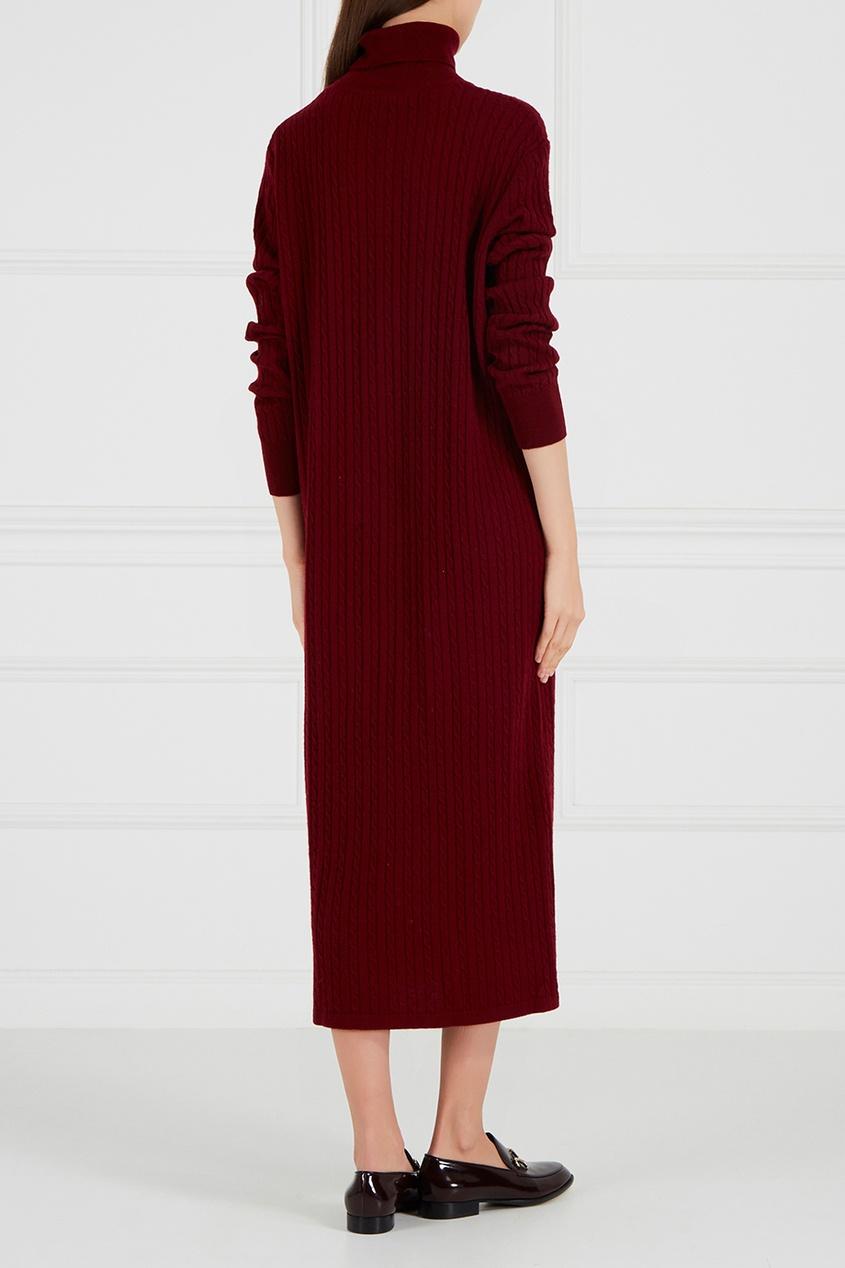 Бордовое платье из шерстяного трикотажа