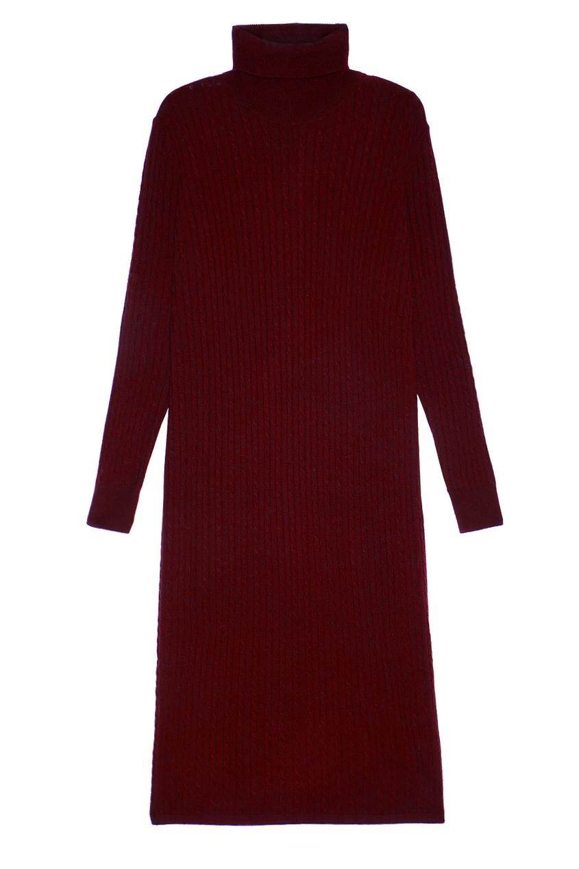 Addicted Бордовое платье из шерстяного трикотажа addicted синие кашемировые брюки