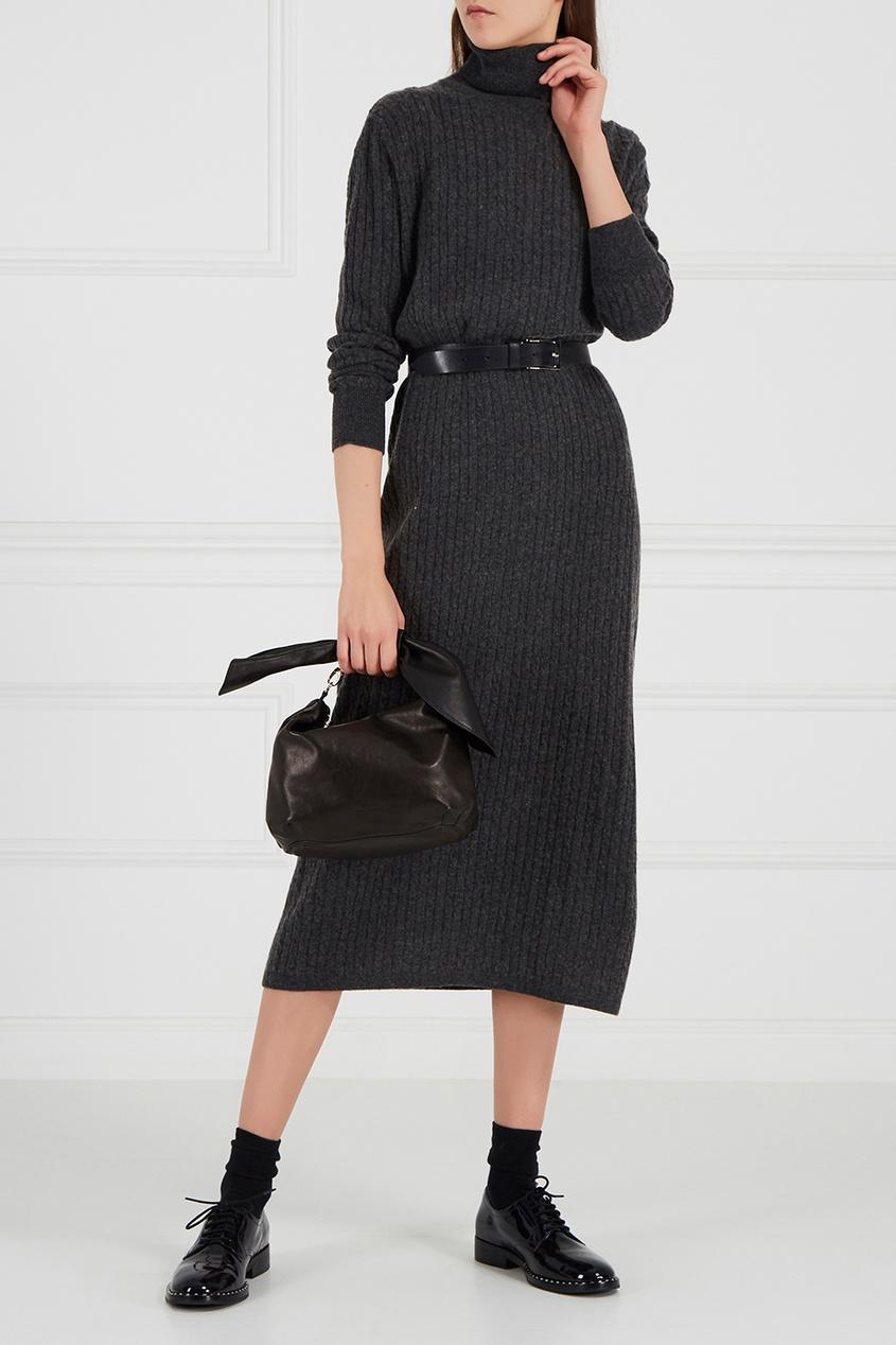 Addicted Серое платье из шерстяного трикотажа пальто из шерстяного драпа 70