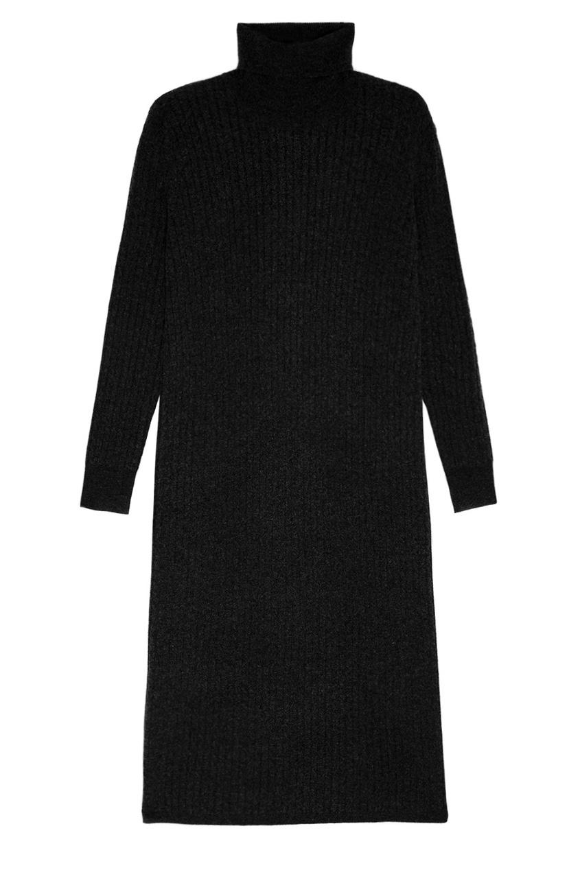 Addicted Черное платье из шерстяного трикотажа addicted синие кашемировые брюки