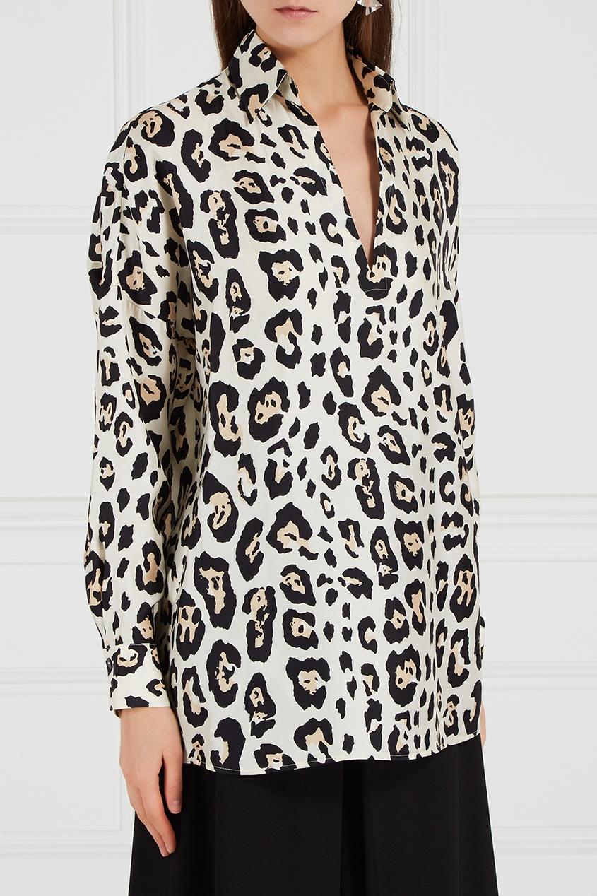 Шелковая блузка с леопардовым принтом