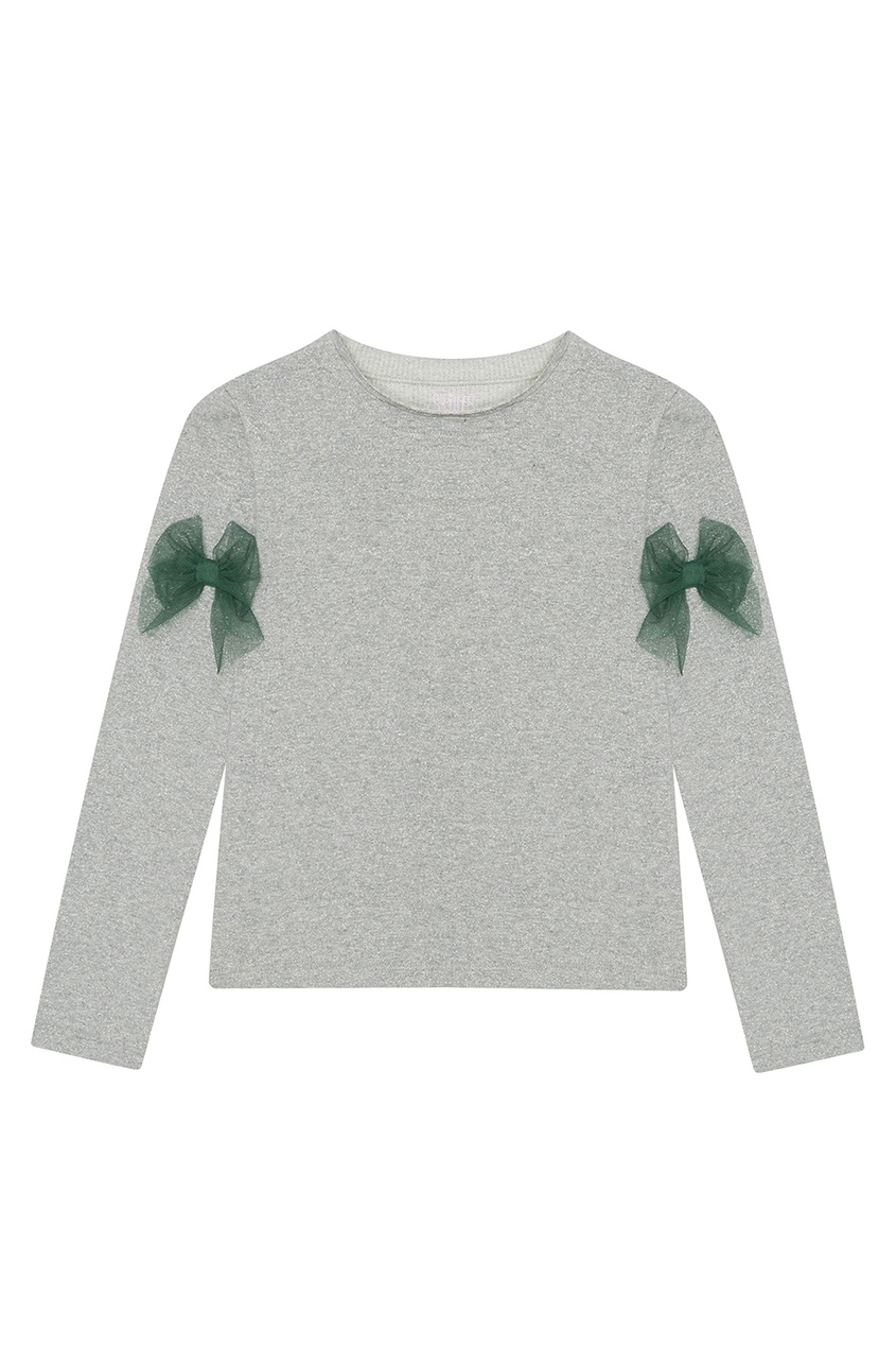 Skirts&More Лонгслив серебристый с зелёными бантиками