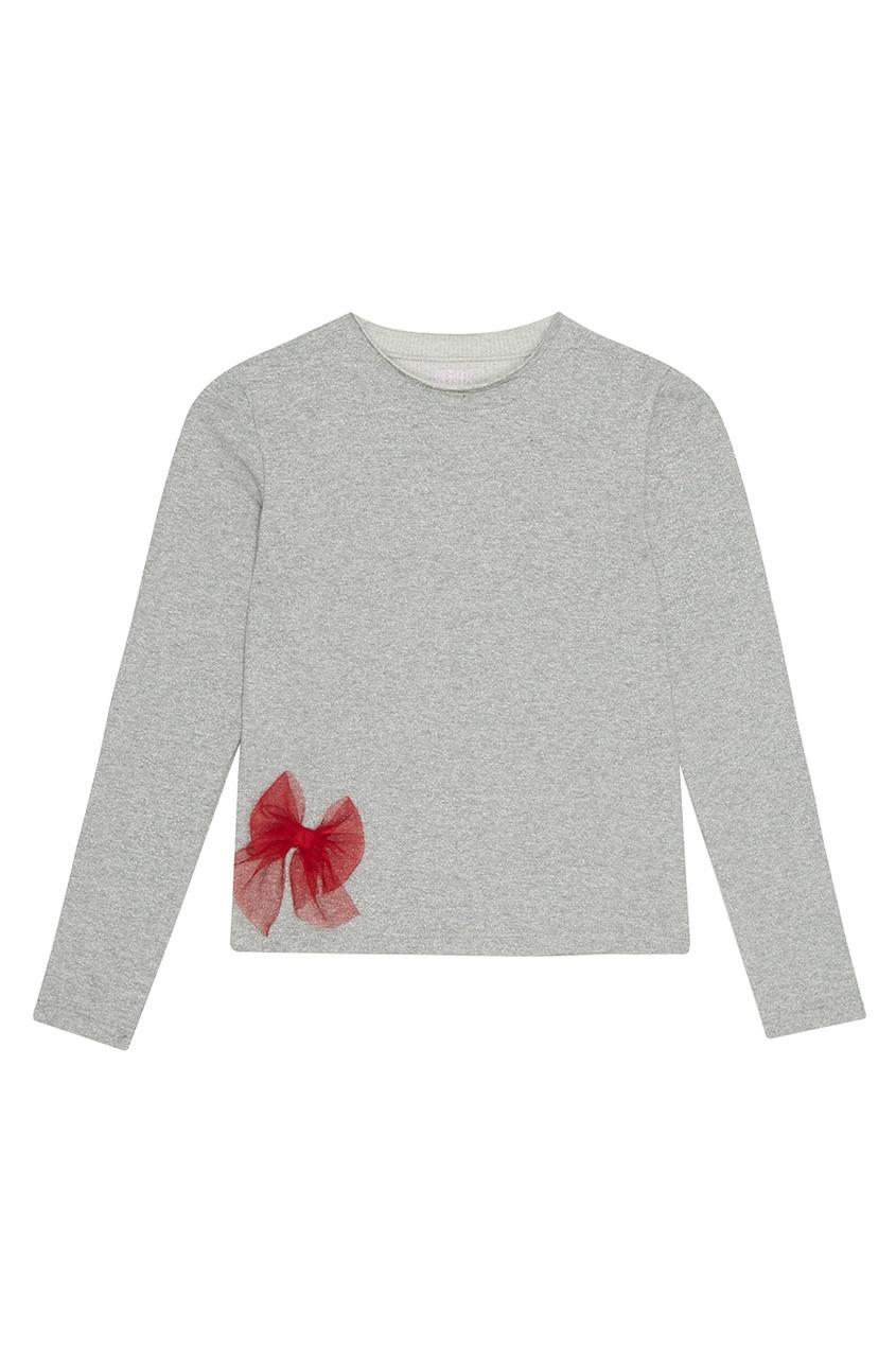 Skirts&More Лонгслив серебристый с красным бантиком