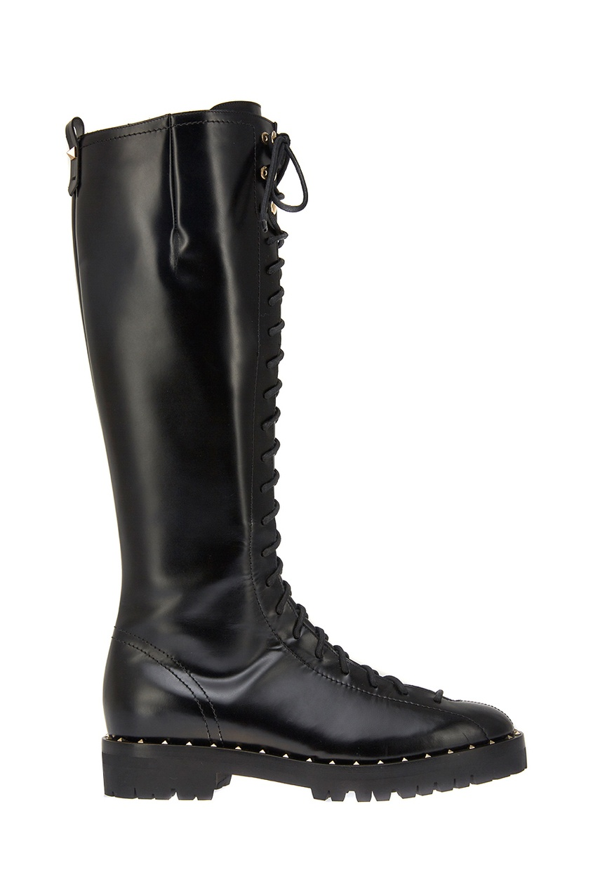 Valentino Кожаные сапоги на шнуровке полусапоги на шнуровке женские