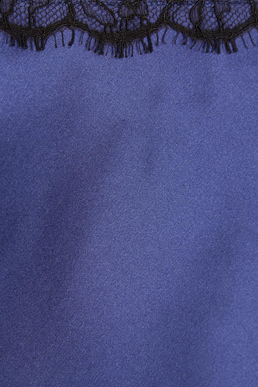 Шелковая синяя пижама