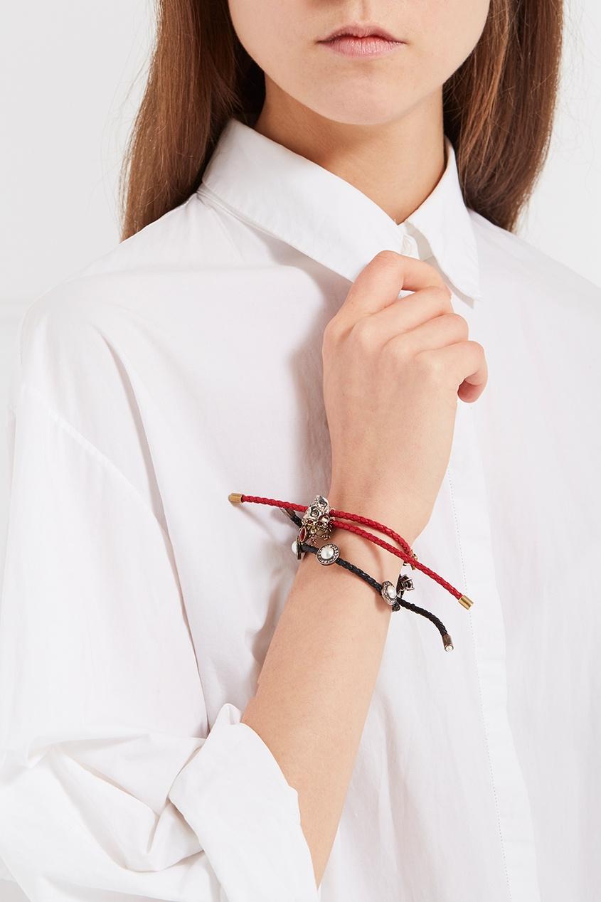 Фото #1: Красный браслет-шнурок с подвесками
