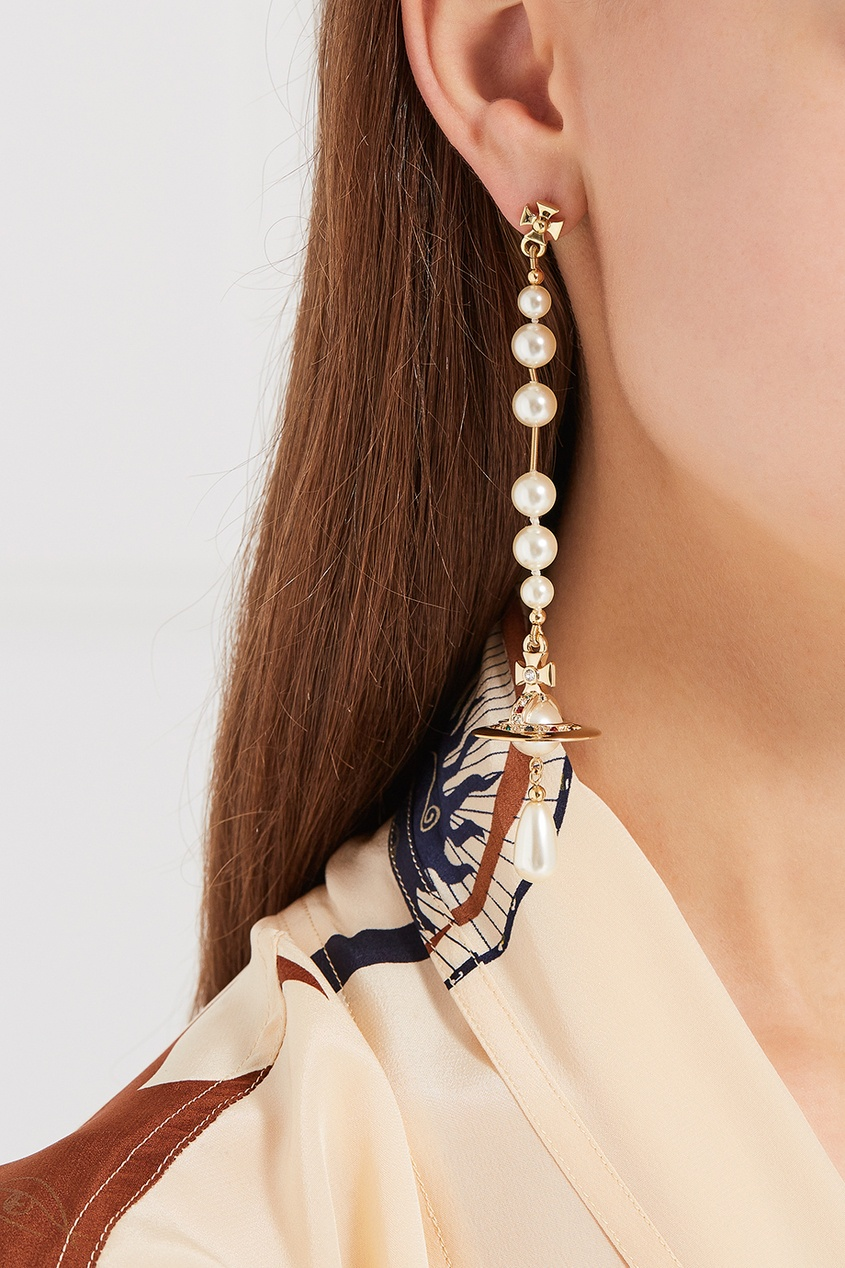 Vivienne Westwood Серьги с жемчужными подвесками серьги с подвесками jv серебряные серьги с ювелирным стеклом se0422 us 001 wg
