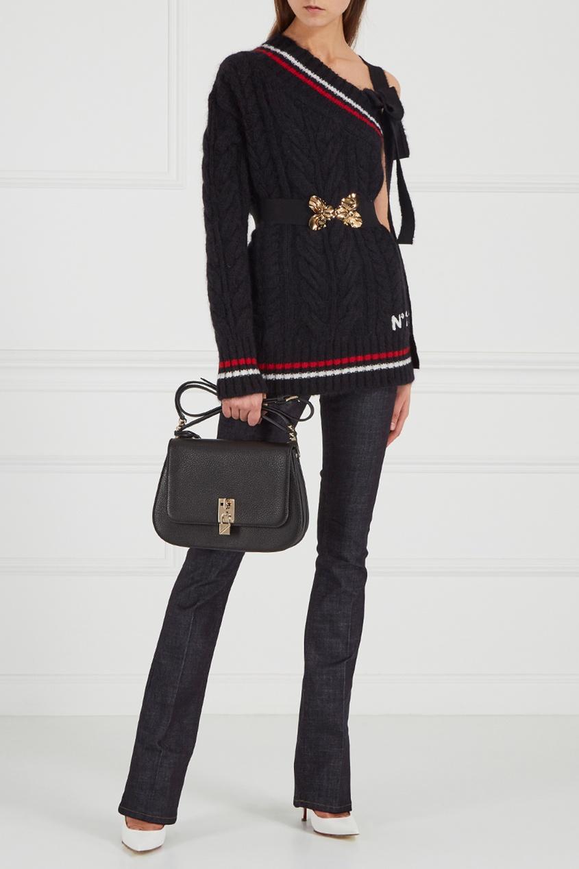 Valentino Кожаная сумка-мессенджер Joylock коричневая кожаная сумка на плечевом