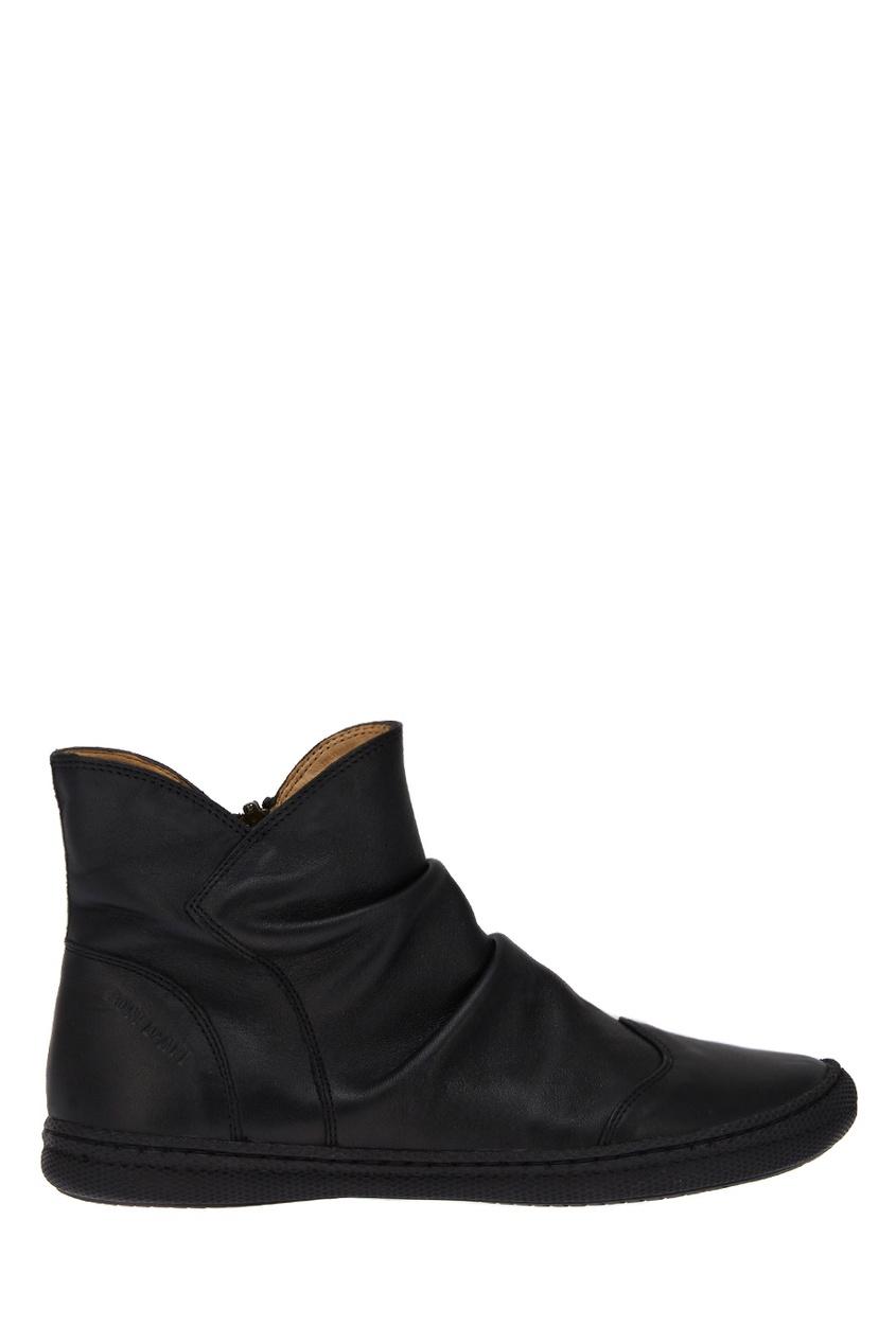 Кожаные ботинки со складками