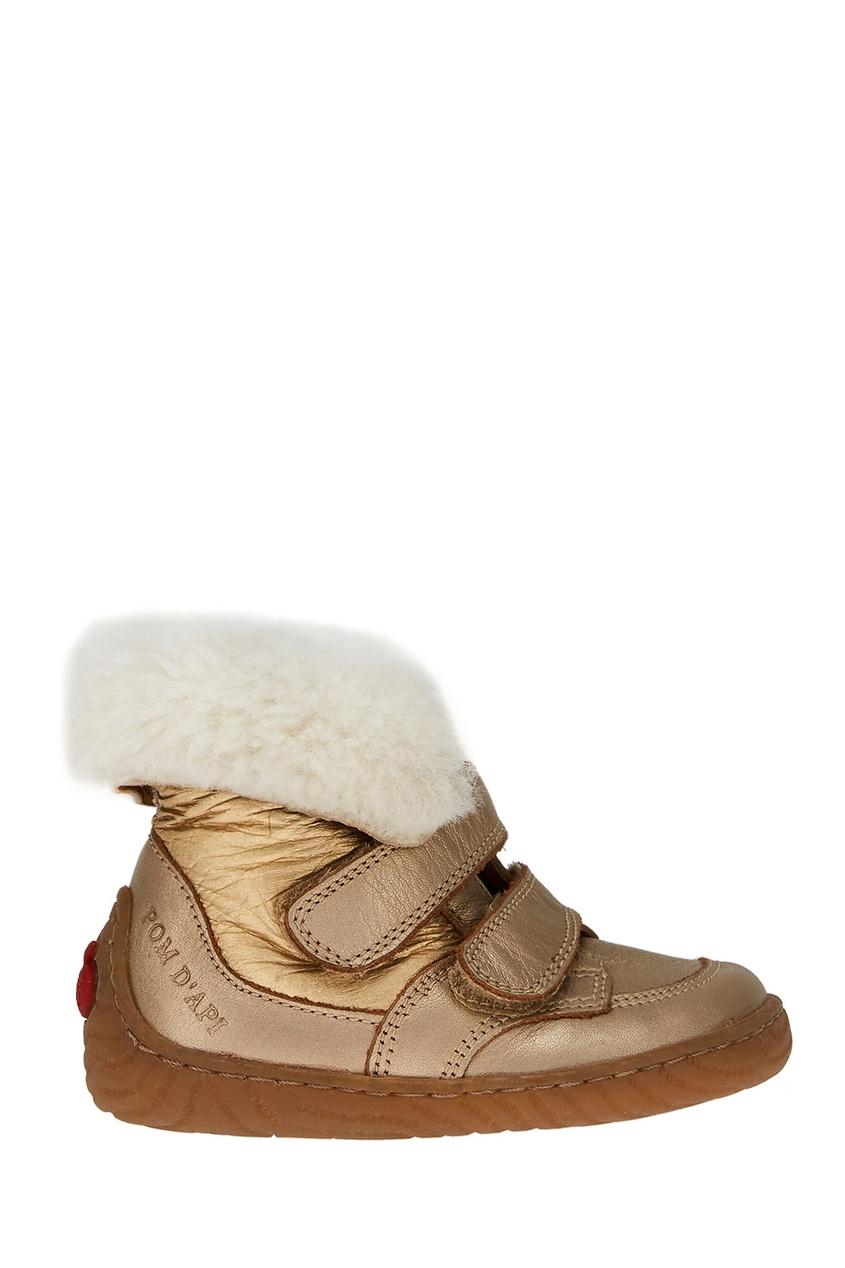Pom D'Api Золотистые ботинки с мехом цены онлайн