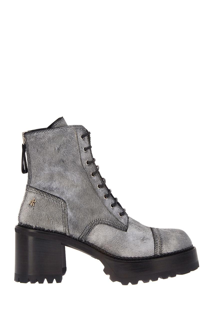 Купить со скидкой Бархатные серебристые ботинки