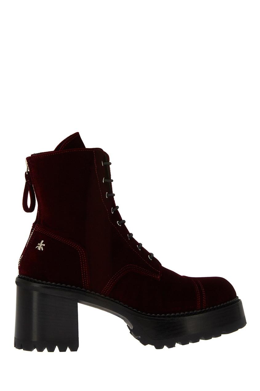 Бордовые ботинки из бархата