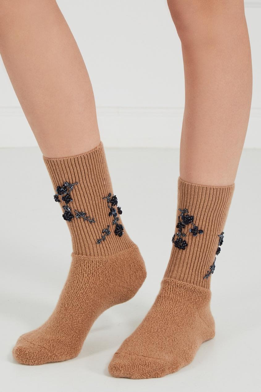 Коричневые шерстяные носки с вышивкой