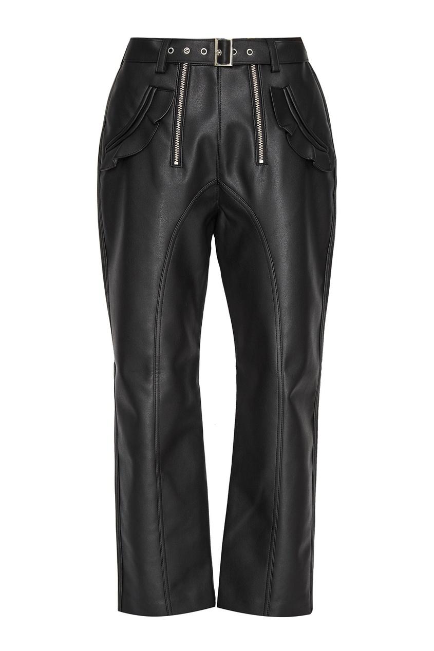 Черные брюки из эко-кожи