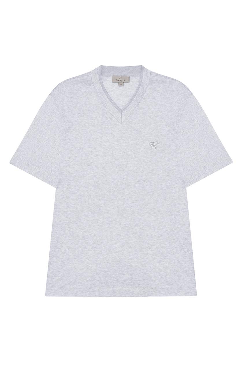 Canali Серая футболка с V-вырезом футболка 560 с короткими рукавами спортивная для малышей серая