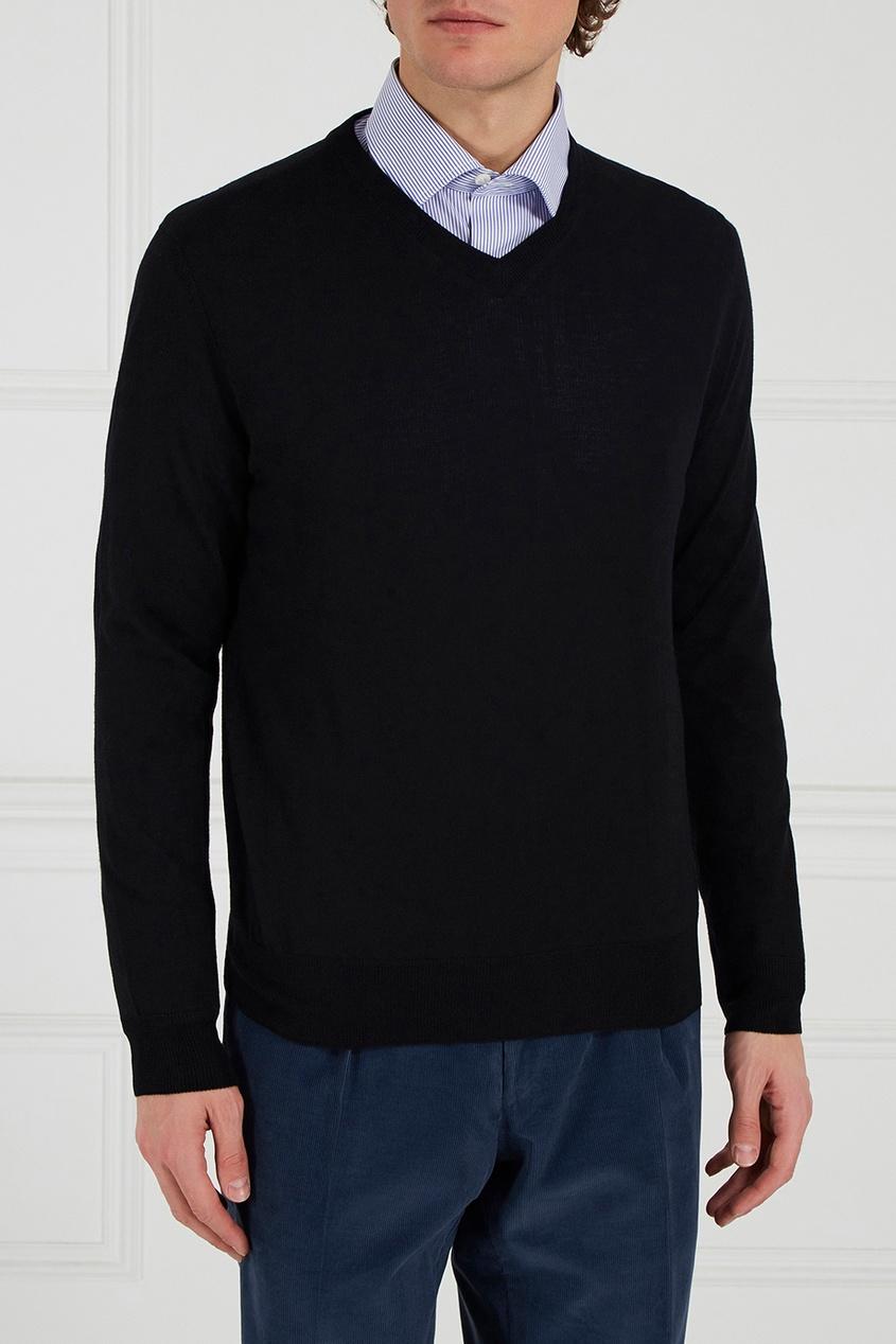 Canali Черный шерстяной пуловер