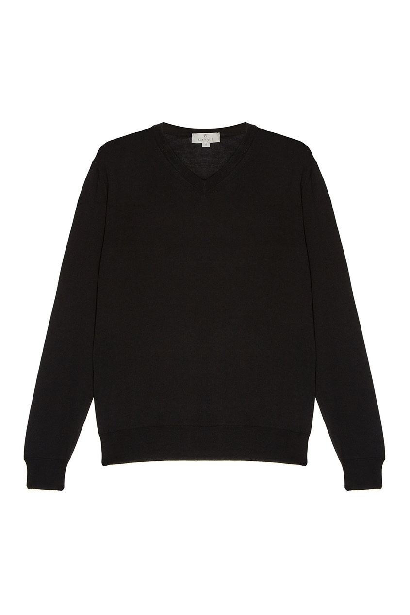 Canali Черный шерстяной пуловер пуловер из плотного трикотажа с v образным вырезом