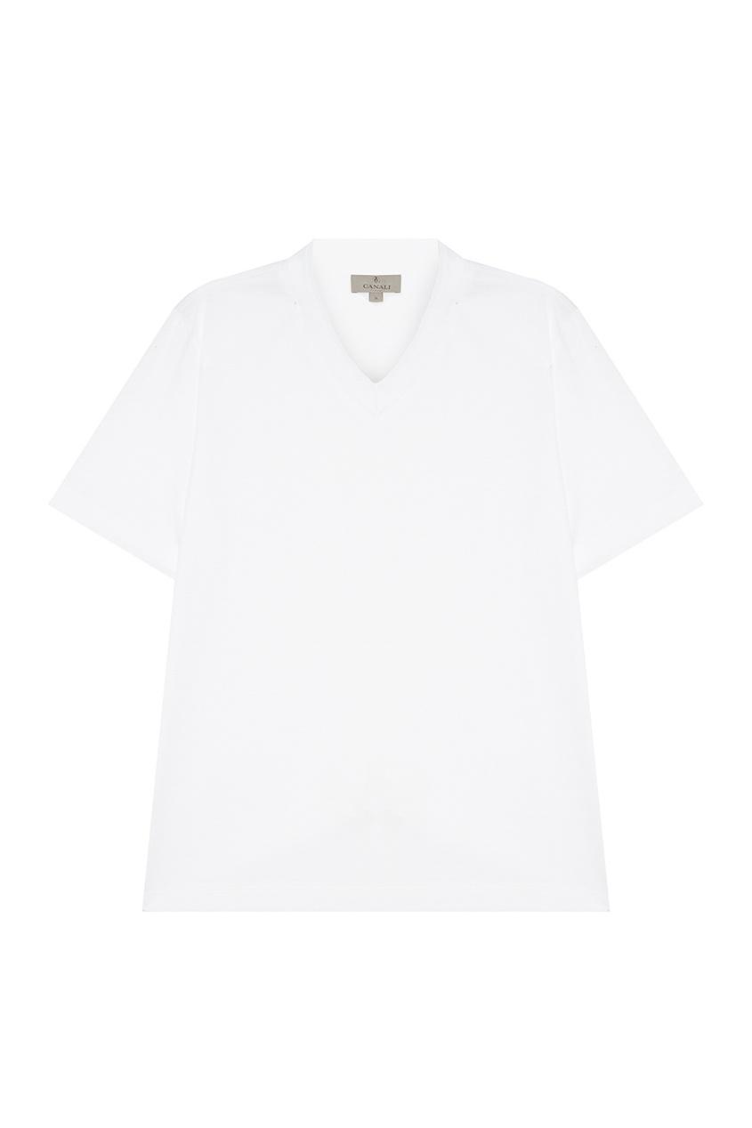 Купить Белая футболка с V-вырезом от Canali белого цвета