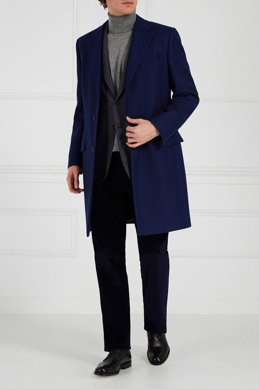 Canali Однобортное шерстяное пальто canali пальто с контрастным узором