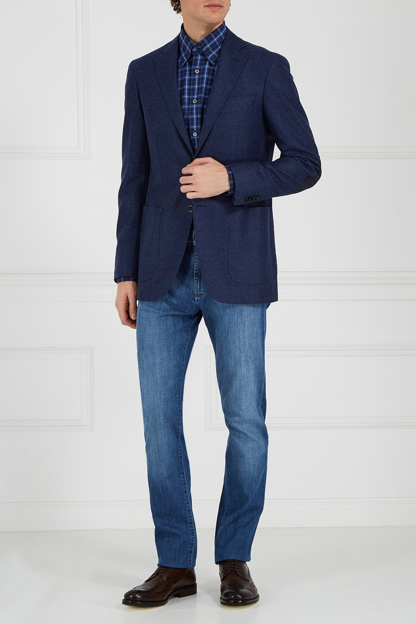 Синий шерстяной пиджак от Canali