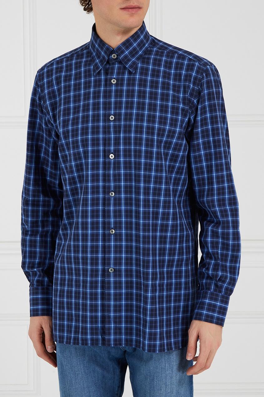 Canali Хлопковая рубашка в клетку рубашка в клетку dc atura 3 atura black