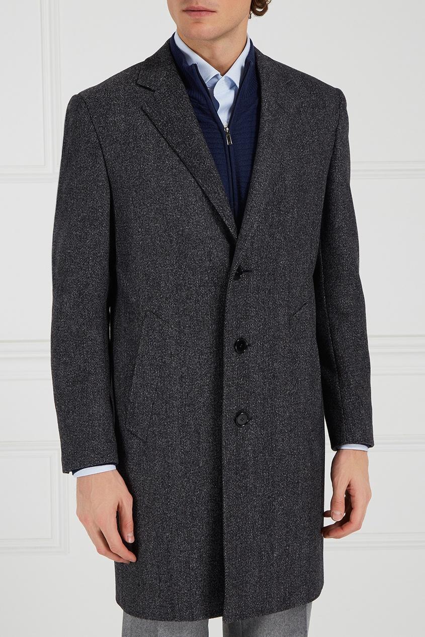 Canali Серое шерстяное пальто canali пальто с контрастным узором