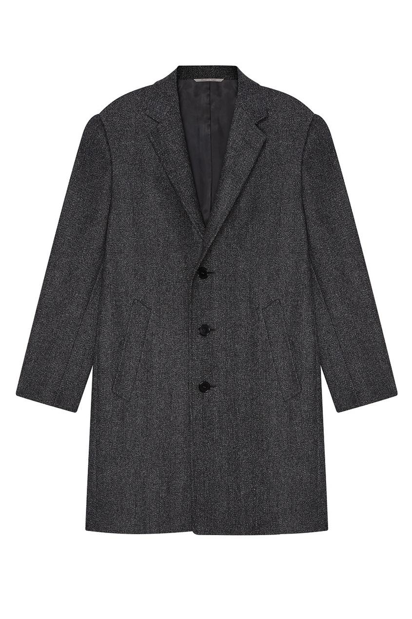 Canali Серое шерстяное пальто
