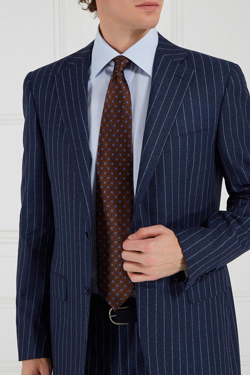 Canali Коричневый галстук с принтом