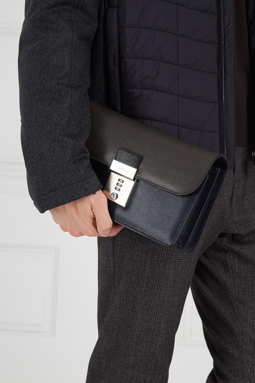 Canali Кожаный портфель на замке canali шелковый кушак для смокинга